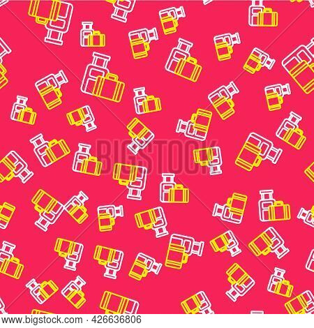 Line Suitcase For Travel Icon Isolated Seamless Pattern On Red Background. Traveling Baggage Sign. T