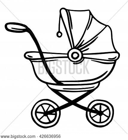 One Continuous Single Drawing Line Art Flat Doodle Carriage, Stroller, Wheel, Baby, Buggy, Childhood