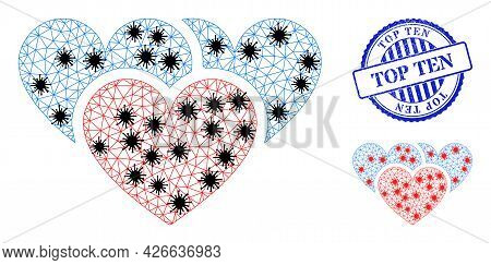 Mesh Polygonal Love Hearts Symbols Illustration In Infection Style, And Textured Blue Round Top Ten