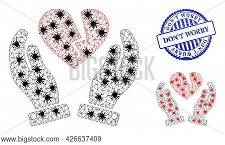 Mesh Polygonal Broken Heart Care Hands Symbols Illustration In Lockdown Style, And Rubber Blue Round