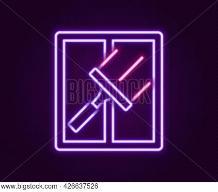 Glowing Neon Line Cleaning Service With Of Rubber Cleaner For Windows Icon Isolated On Black Backgro