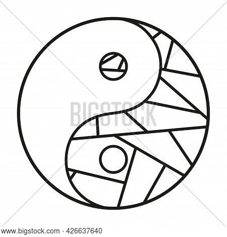 Yin And Yang. Religious Symbol. Hand Drawn Symbol On Isolation Background. Design For Spiritual Rela