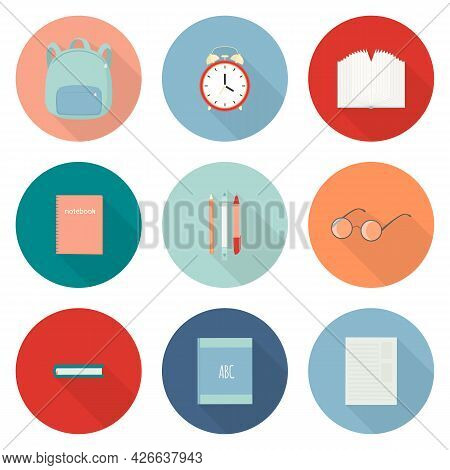 Vector Set Of Isolated Icons With School Supplies Knapsack, Book, Pencils, Eyeglasses, Alarm Clock.