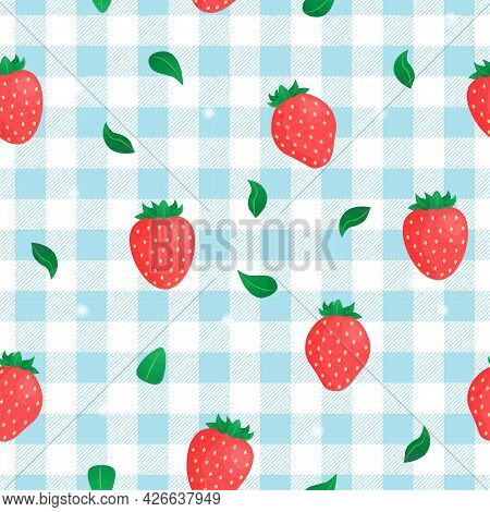 Vector Seamless Pattern With Strawberry On Blue Background. For Spring And Summer Decoration, Fest I