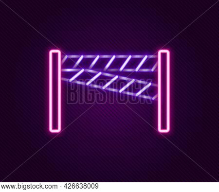 Glowing Neon Line Crime Scene Icon Isolated On Black Background. Colorful Outline Concept. Vector