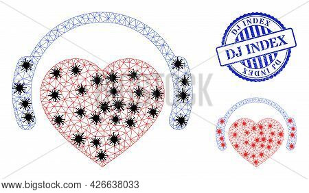 Mesh Polygonal Romantic Heart Dj Icons Illustration With Outbreak Style, And Textured Blue Round Dj
