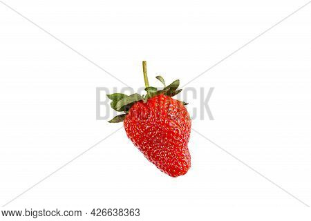 Fresh Strawberry With Leaves Isolated On White