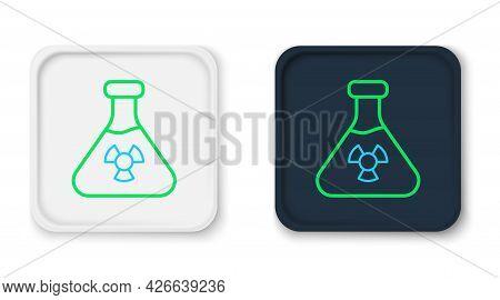 Line Laboratory Chemical Beaker With Toxic Liquid Icon Isolated On White Background. Biohazard Symbo