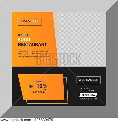 Food Social Media Banner - Restaurant Banner Design Template