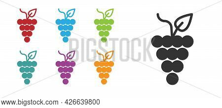 Black Bunch Of Grapes Icon Isolated On White Background. Set Icons Colorful. Vector