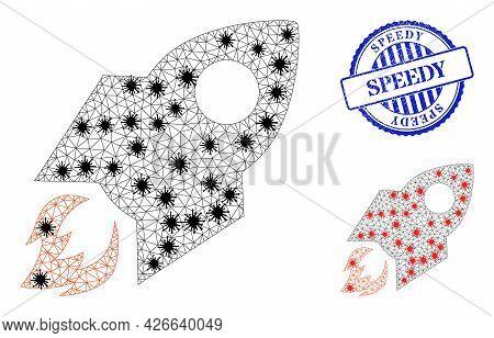 Mesh Polygonal Rocket Flight Icons Illustration Designed Using Outbreak Style, And Distress Blue Rou