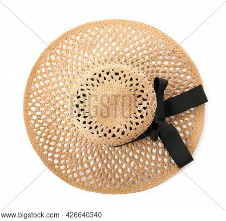 Stylish Straw Hat Isolated On White, Top View