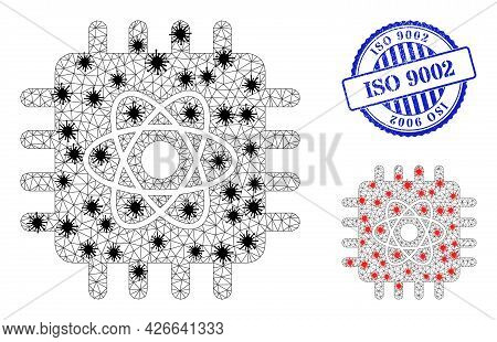 Mesh Polygonal Quantum Computing Icons Illustration With Infection Style, And Grunge Blue Round Iso