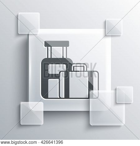 Grey Suitcase For Travel Icon Isolated On Grey Background. Traveling Baggage Sign. Travel Luggage Ic