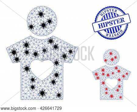 Mesh Polygonal Boyfriend Icons Illustration With Infection Style, And Rubber Blue Round Hipster Stam