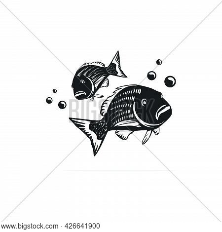 Silhouette Two Red Snapper In Water Fish Logo Design,fishing Logo,vector Template In White Backgroun