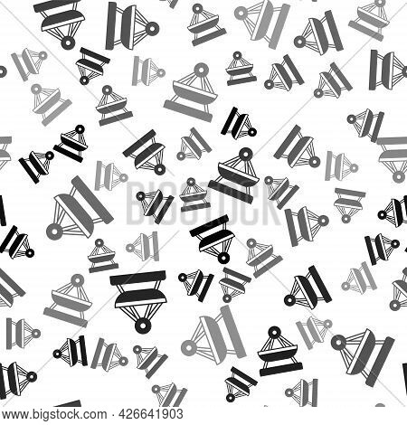 Black Boat Swing Icon Isolated Seamless Pattern On White Background. Childrens Entertainment Playgro