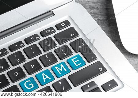 Light Blue Buttons With Letters G A M E On Keyboard, Closeup