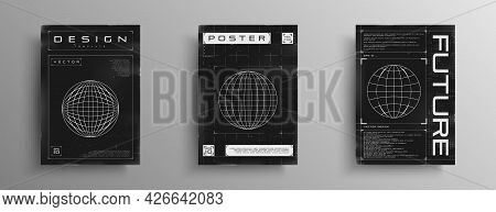 Set Of Retrofuturistic Posters With Hud Elements, Broken Laser Grid, And Wireframe Planet. Black And