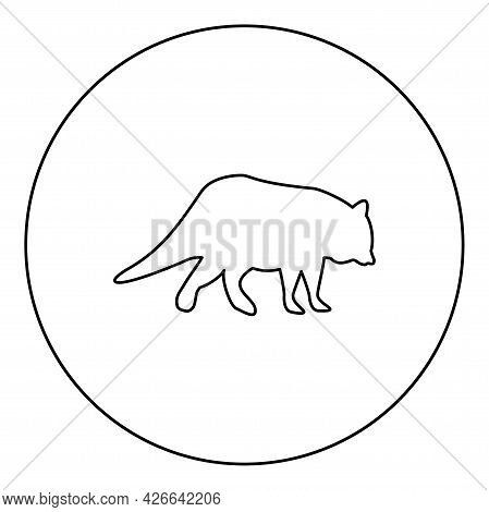 Raccoon Coon Silhouette In Circle Round Black Color Vector Illustration Contour Outline Style Image