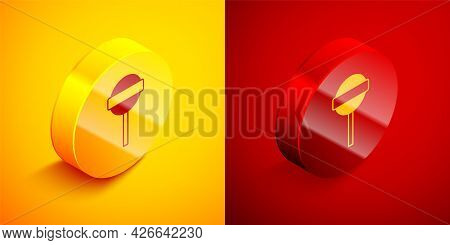 Isometric Lollipop Icon Isolated On Orange And Red Background. Food, Delicious Symbol. Circle Button