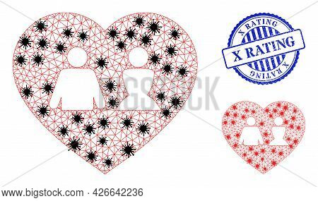 Mesh Polygonal Love Heart Symbols Illustration With Infection Style, And Rubber Blue Round X Rating