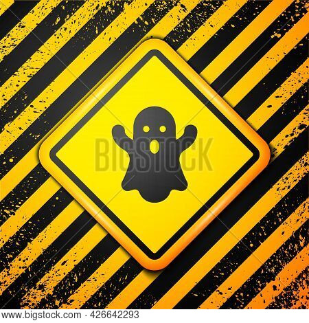 Black Ghost Icon Isolated On Yellow Background. Happy Halloween Party. Warning Sign. Vector