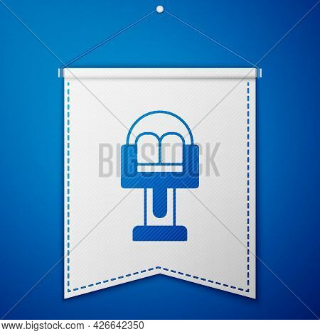 Blue Attraction Carousel Icon Isolated On Blue Background. Amusement Park. Childrens Entertainment P