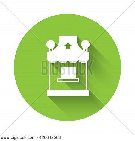 White Ticket Box Office Icon Isolated With Long Shadow Background. Ticket Booth For The Sale Of Tick