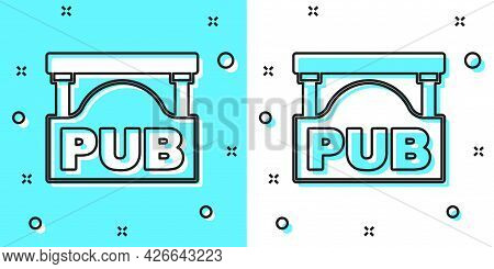 Black Line Street Signboard With Inscription Pub Icon Isolated On Green And White Background. Suitab