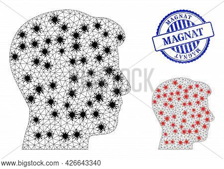 Mesh Polygonal Man Head Profile Symbols Illustration In Outbreak Style, And Grunge Blue Round Magnat