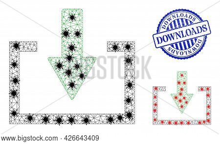 Mesh Polygonal Download Symbols Illustration Designed Using Infection Style, And Rubber Blue Round D