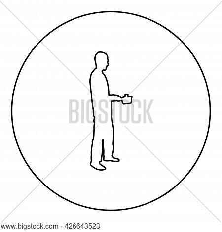 Man With Saucepan In His Hands Preparing Food Male Cooking Use Sauciers Silhouette In Circle Round B