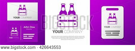 Logotype Pack Of Beer Bottles Icon Isolated On White Background. Wooden Box And Beer Bottles. Case C