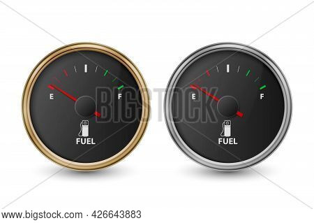 Vector 3d Realistic Golden, Silver Circle Gas Fuel Tank Gauge, Black Dial, Oil Level Bar Set Isolate