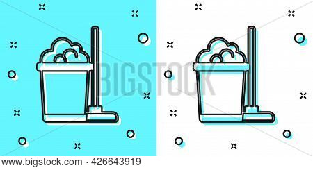 Black Line Mop And Bucket Icon Isolated On Green And White Background. Cleaning Service Concept. Ran