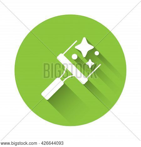 White Cleaning Service With Of Rubber Cleaner For Windows Icon Isolated With Long Shadow Background.
