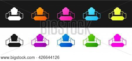 Set Wet Wipe Pack Icon Isolated On Black And White Background. Vector