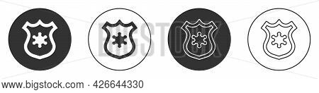 Black Police Badge Icon Isolated On White Background. Sheriff Badge Sign. Circle Button. Vector