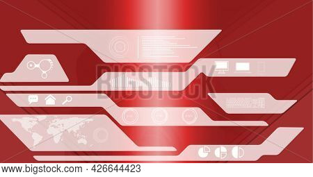 Digitally generated image of digital interface with data processing against red background. computer interface and technology concept