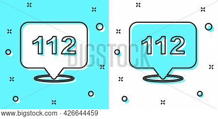 Black Line Telephone With Emergency Call 112 Icon Isolated On Green And White Background. Police, Am