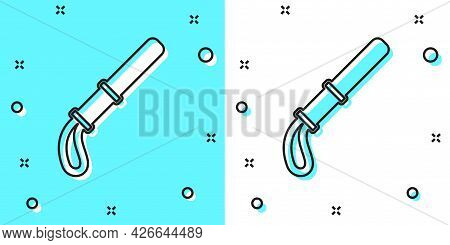 Black Line Police Rubber Baton Icon Isolated On Green And White Background. Rubber Truncheon. Police