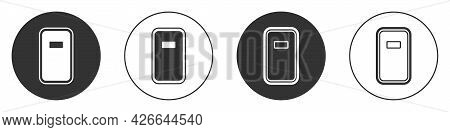 Black Police Assault Shield Icon Isolated On White Background. Circle Button. Vector