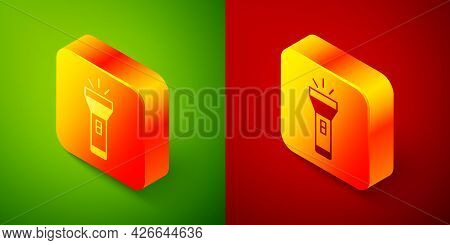 Isometric Flashlight Icon Isolated On Green And Red Background. Square Button. Vector