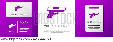 Logotype Pistol Or Gun Icon Isolated On White Background. Police Or Military Handgun. Small Firearm.