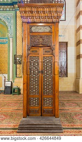 Old Aged Wooden Door Of Minbar Of Imam Al Shafii Mosque With Arabesque Decorations Tongue And Groove