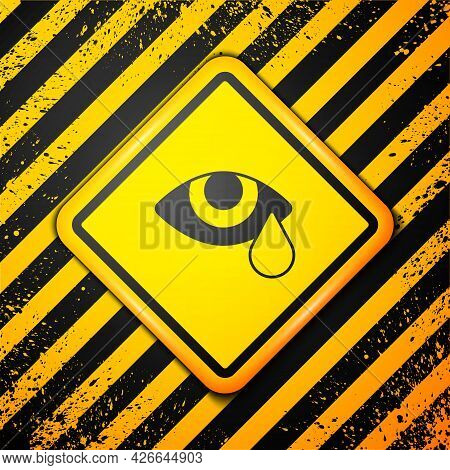Black Tear Cry Eye Icon Isolated On Yellow Background. Warning Sign. Vector