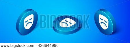 Isometric Drama Theatrical Mask Icon Isolated On Blue Background. Blue Circle Button. Vector