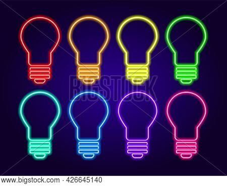 Vector Neon Light Bulb. A Set Of Insulated Light Bulbs Of Different Colors, Glowing Elements On A Da