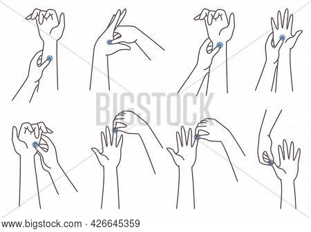 Acupressure Hand Massage Technique. Woman Pressing Finger, Palm, Wrist Points, Vector Illustration.